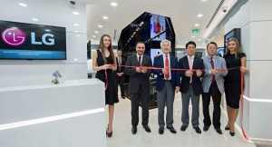 Ribbon cutting ceremony at the launch of LG Electronics' First Business ...