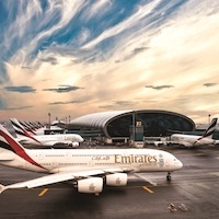 Emirates A380s at Dubai International Airport.