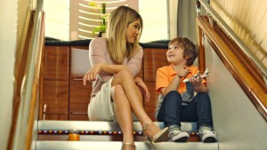 Jennifer Aniston and her young co-star Cooper onboard the A380 in the new Emirates...